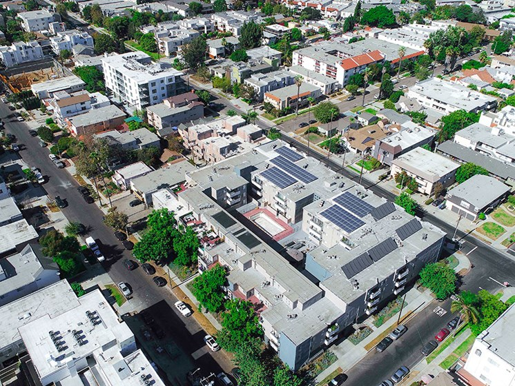 Overhead drone image of building located in Palms, CA just a few blocks away from Venice Blvd and Sony Pictures Studio.