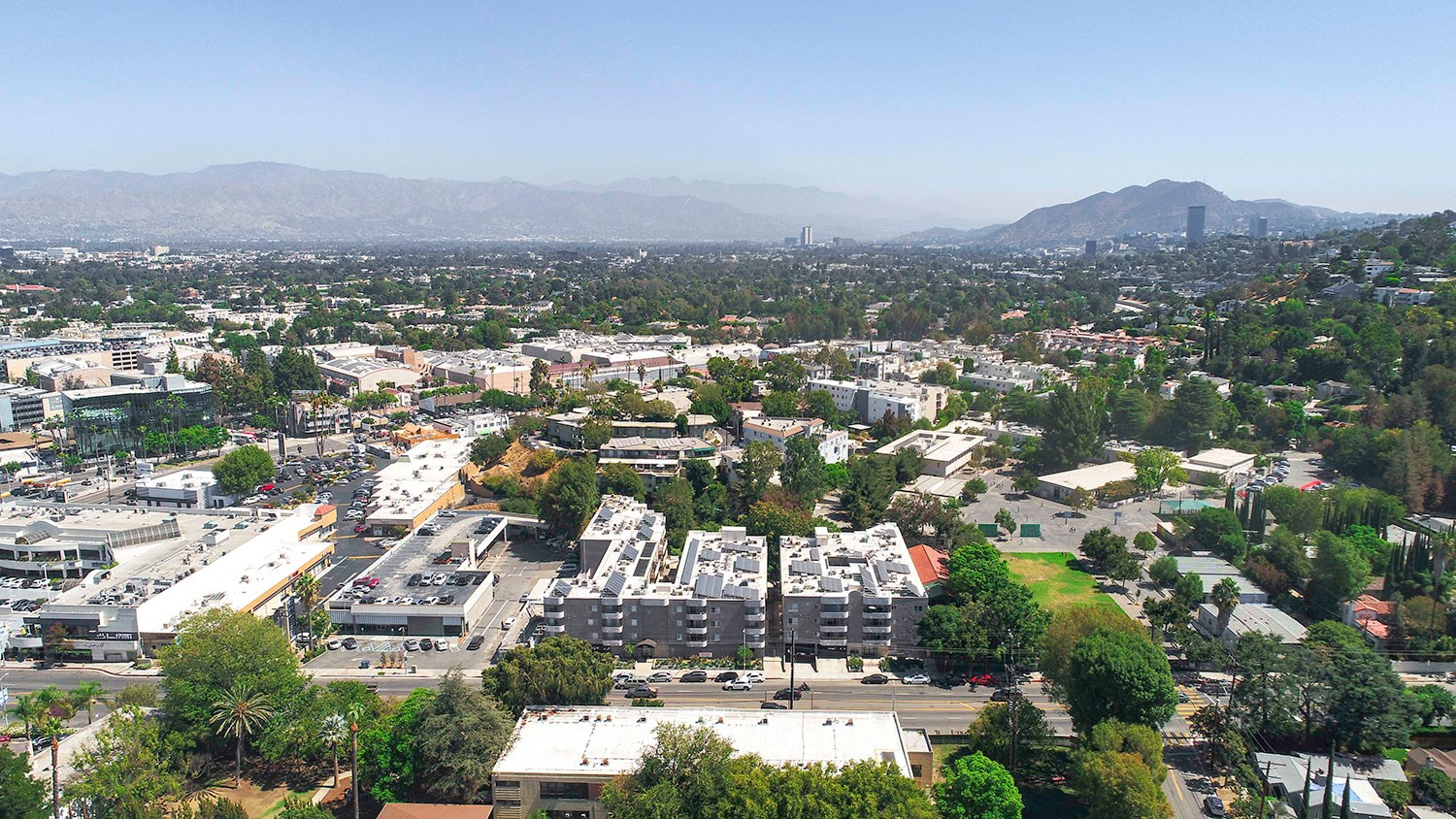 Drone view of community short distance to Ventura Boulevard.