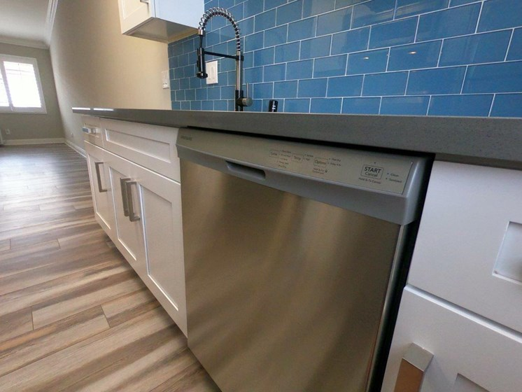 View of stainless steel dishwasher and beautiful Caribbean blue backsplash.