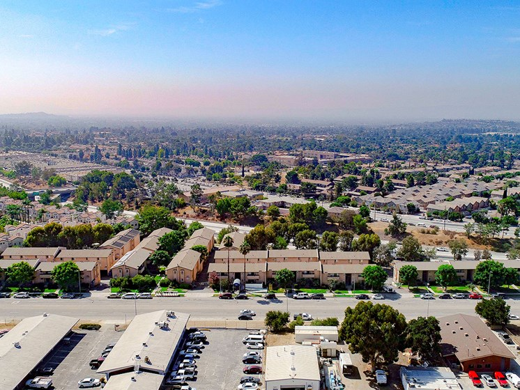 Aerial drone view of Olive View Gardens and the surrounding San Fernando Valley.