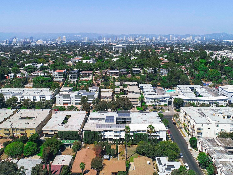 Aerial drone image of Rose Apartments and surrounding neighborhood.