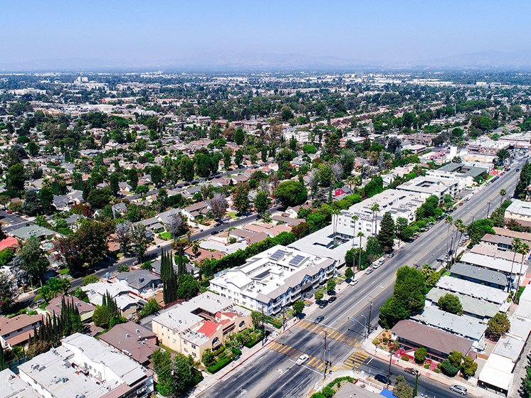 Aerial drone picture of the building looking out at the San Fernando Valley.