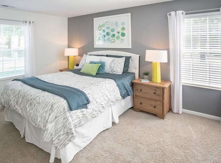 light filled bedroom  at The Village at Avon Apartments in Avon, OH