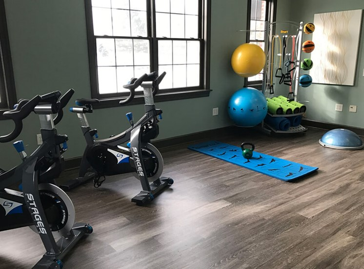 fitness center  at The Village at Avon Apartments in Avon, OH