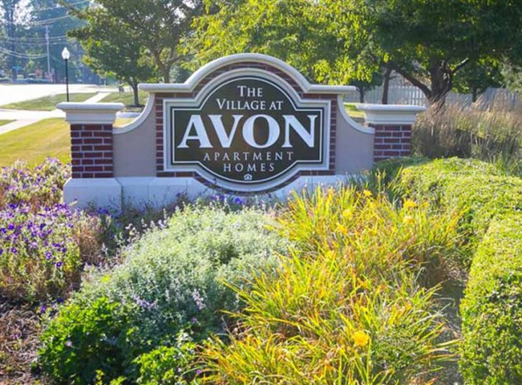 exterior sign  at The Village at Avon Apartments in Avon, OH