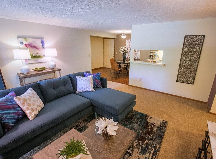 open living room  at Mallard\'s Crossing Apartments in Medina, OH