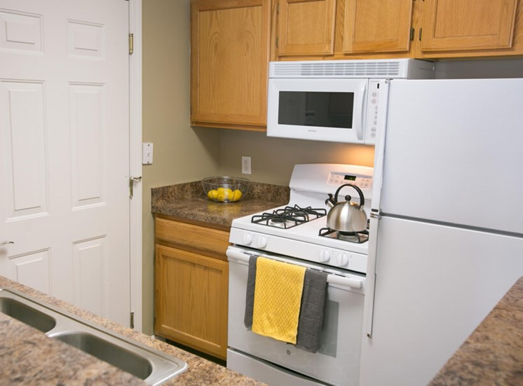 kitchen at The Village of Western Reserve Apartments in Streetsboro, OH