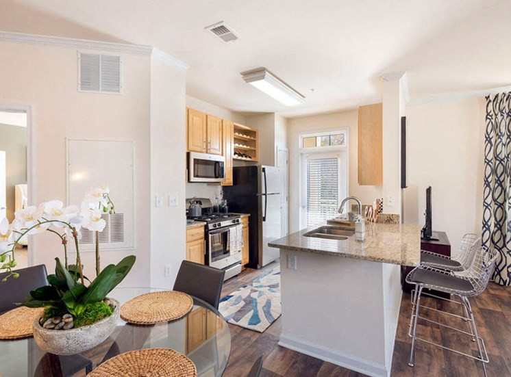 Plenty of kitchen counter space for cooking and entertaining at Westwind Farms Apartments in Ashburn, VA