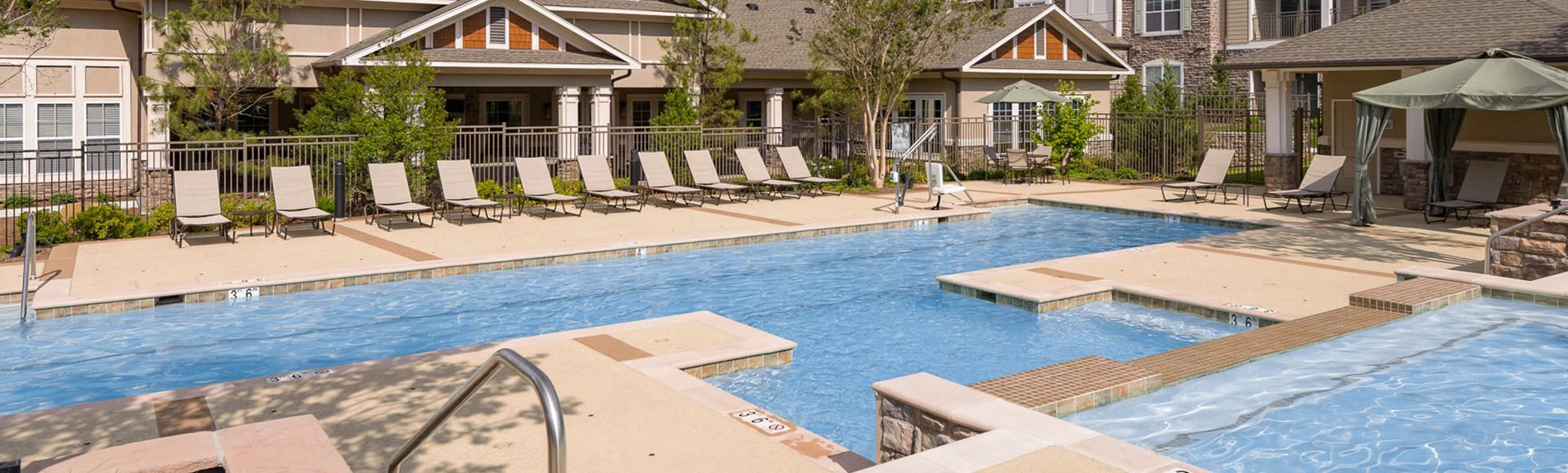 Pool area at the Atley on the Green Apartment in Ashburn, VA