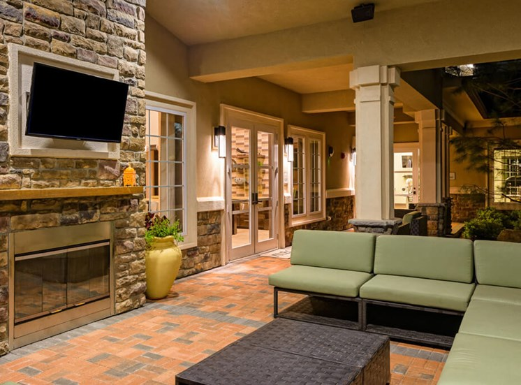 Large clubhouse tv viewing area at Atley on the Greenway Apartments in Ashburn, VA