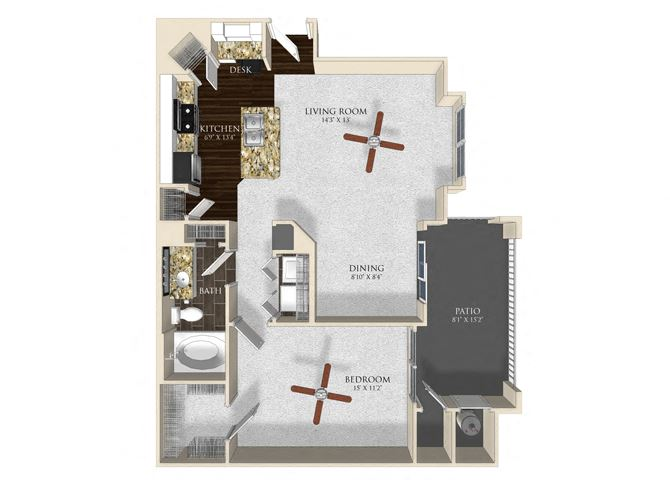 1 bedroom 1 bathroom apartment A22 floorplan at Atley on the Greenway Apartments in Ashburn, VA