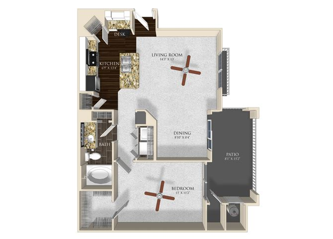 1 bedroom 1 bathroom apartment A2 floorplan at Atley on the Greenway Apartments in Ashburn, VA