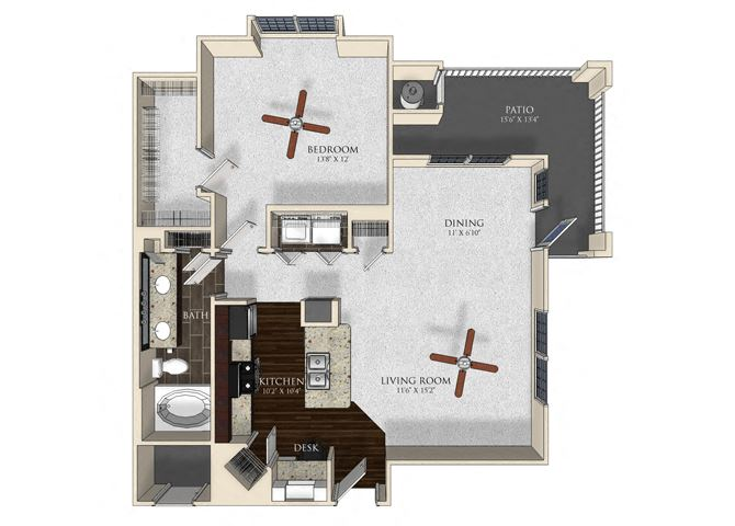 1 bedroom 1 bathroom apartment A32 floorplan at Atley on the Greenway Apartments in Ashburn, VA