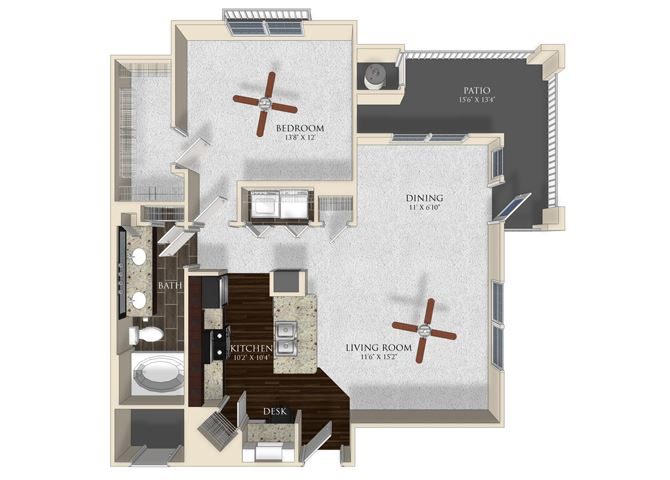 1 bedroom 1 bathroom apartment A3 floorplan at Atley on the Greenway Apartments in Ashburn, VA