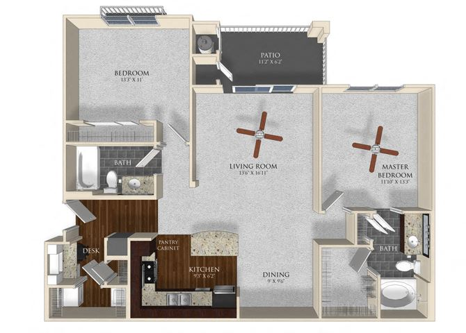 2 bedroom 2 bathroom apartment B1 floor plan at Atley on the Greenway Apartments in Ashburn, VA