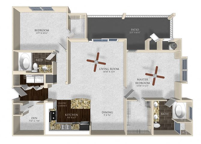 2 bedroom 2 bathroom apartment B23 floor plan at Atley on the Greenway Apartments in Ashburn, VA
