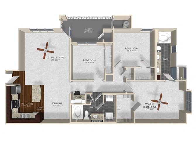3 bedroom 2 bathroom apartment C12 floor plan at Atley on the Greenway Apartments in Ashburn, VA