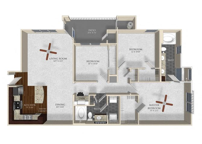 3 bedroom 2 bathroom apartment C1 floor plan at Atley on the Greenway Apartments in Ashburn, VA