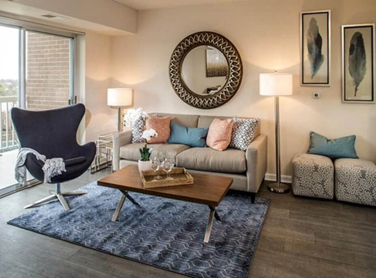 Open concept living room at The Alexander Apartments in Alexandria, VA