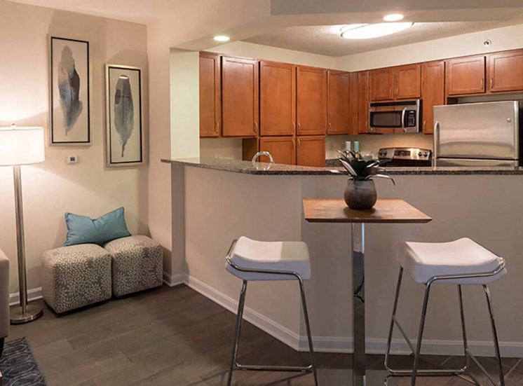 kitchen bar at The Alexander Apartments in Alexandria, VA