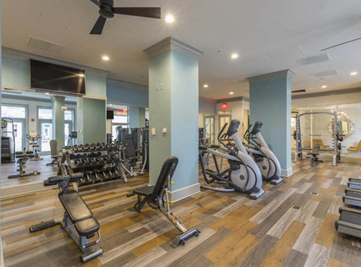 Brand new fitness studio with state of the art gym equipment at The Alexander Apartments in Alexandria, VA