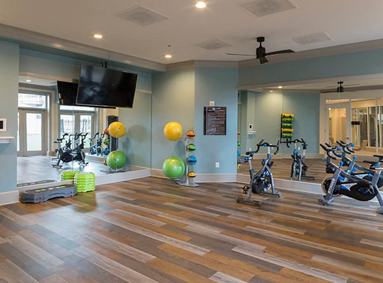 Yoga and spin studio at Brand new fitness studio with state of the art gym equipment at The Alexander Apartments in Alexandria, VA