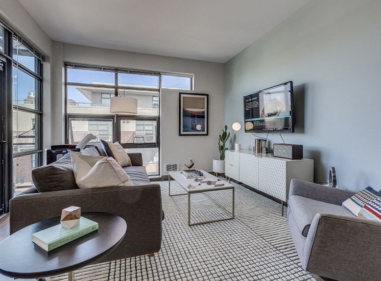 Spacious Living Room With Private Balcony at Equinox, Washington, 98102