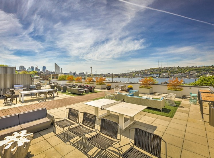 Rooftop Terrace Seating at Equinox, Seattle, Washington