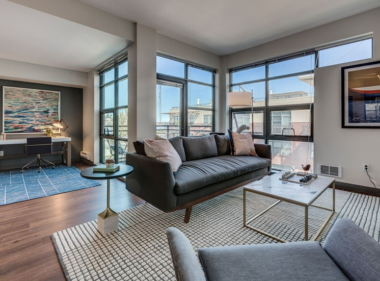 Spacious Living Room With Hardwood Floors at Equinox, Seattle