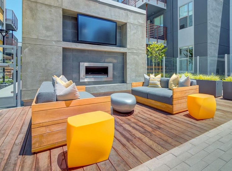 Entertainment Courtyard with Outdoor Fire Pit & BBQ Grills at Elan Menlo Park, Menlo Park, 94025
