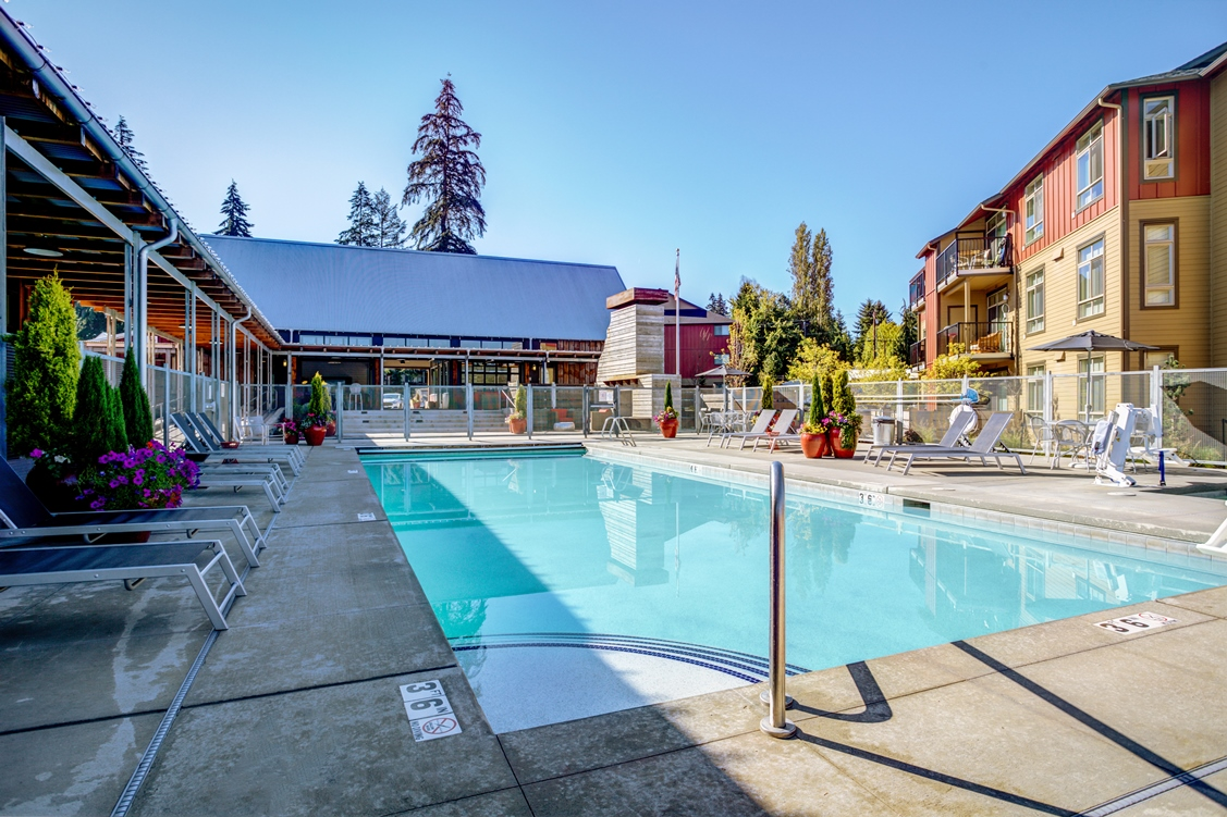 Swimming Pool with Lounge Chairs at Bailey Farm, Bothell, WA
