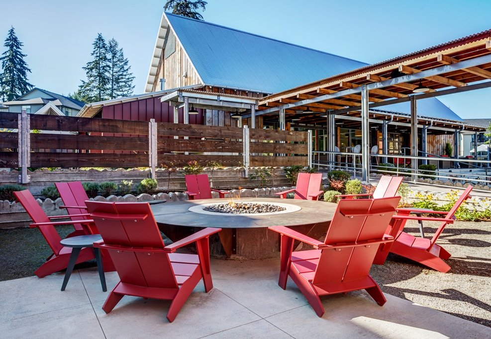 Relaxing Outdoor Lounge Area with Fire Pit at Bailey Farm, Bothell