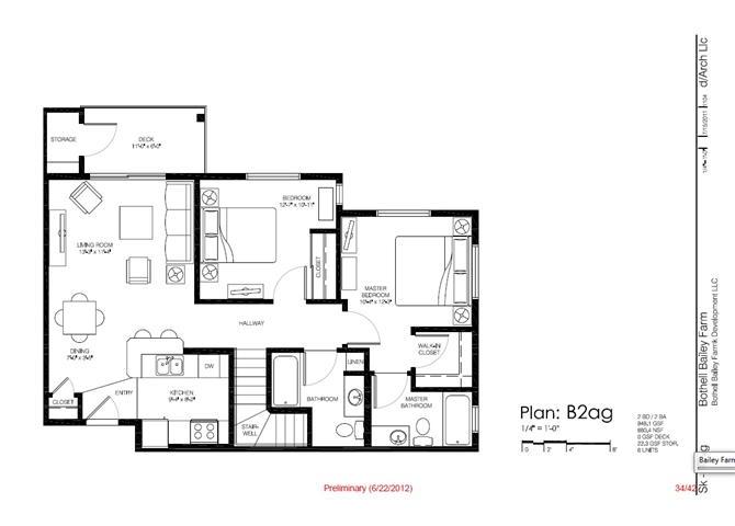 Floor plan at Bailey Farm, Bothell, WA, 98012