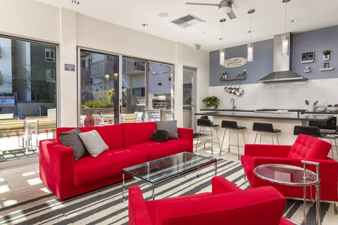 Clubroom kitchen and living area