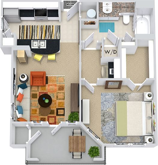 The Athens 3D. 1 bedroom apartment. Kitchen with bartop open to living room. 1 full bathroom. Walk-in closet. Patio/balcony with storage.