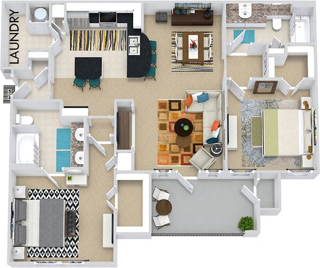 The Berlin 3D.2 bedroom apartment. Kitchen with bartop open to living/dining rooms. 2 full bathrooms, double vanity in master. Walk-in closets. Patio/balcony.