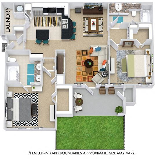 The Berlin with Fenced-in Yard 3D. 2 bedroom apartment. Kitchen with bartop open to living/dining rooms. 2 full bathrooms, double vanity in master. Walk-in closets. Patio/balcony open to yard.