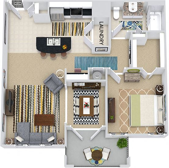 The Budapest 3D. 1 bedroom apartment. Kitchen with island open to living/dining rooms. 1 full bathroom. Walk-in closet. Patio/balcony.