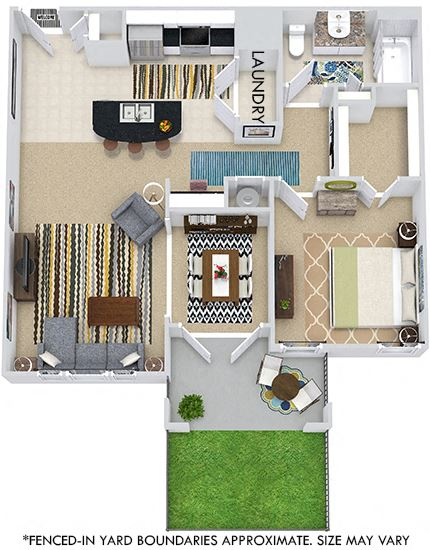 The Budapest with Fenced-in Yard 3D. 1 bedroom apartment. Kitchen with island open to living/dining rooms. 1 full bathroom. Walk-in closet. Patio/balcony open to yard.