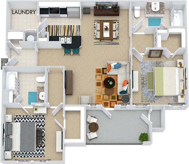 The Istanbul 3D. 2 bedroom apartment. Kitchen with bartop open to living/dining rooms. 2 full bathrooms. Walk-in closets. Patio/balcony.