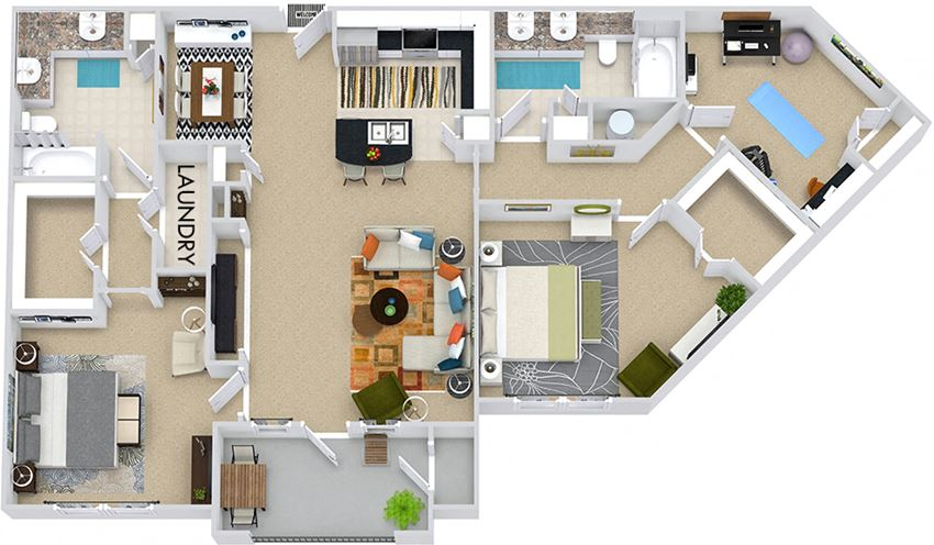 The London 3D. 2 bedroom apartment. Kitchen with bartop open to living/dining rooms. Study room. 2 full bathrooms, double vanities. Walk-in closets. Patio/balcony.