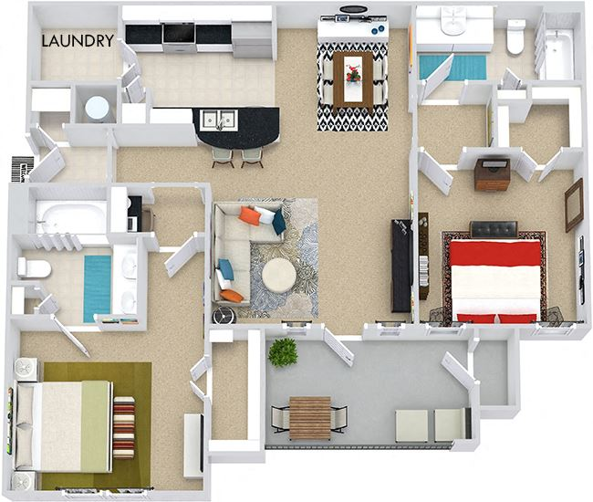 The Montreal 3D. 2 bedroom apartment. Kitchen with bartop open to living/dining rooms. 2 full bathrooms, double vanity in master. Walk-in closet. Patio/balcony.