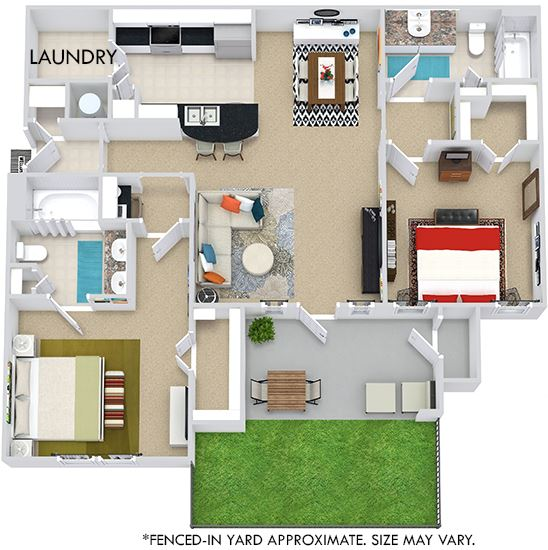 Montreal with Fenced-in Yard 3D. 2 bedroom apartment. Kitchen with bartop open to living/dining rooms. 2 full bathrooms, double vanity in master. Walk-in closet. Patio/balcony open to yard.