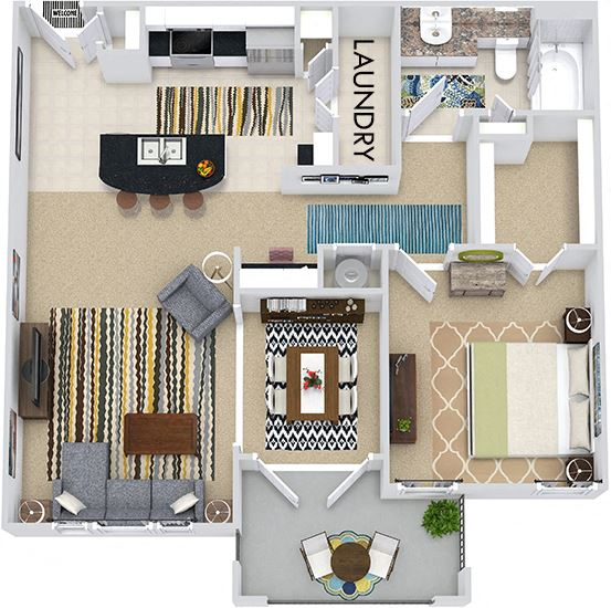 The Paris 3D. 1 bedroom apartment. Kitchen with island open to living/dining rooms. 1 full bathroom. Walk-in closet. Patio/balcony.