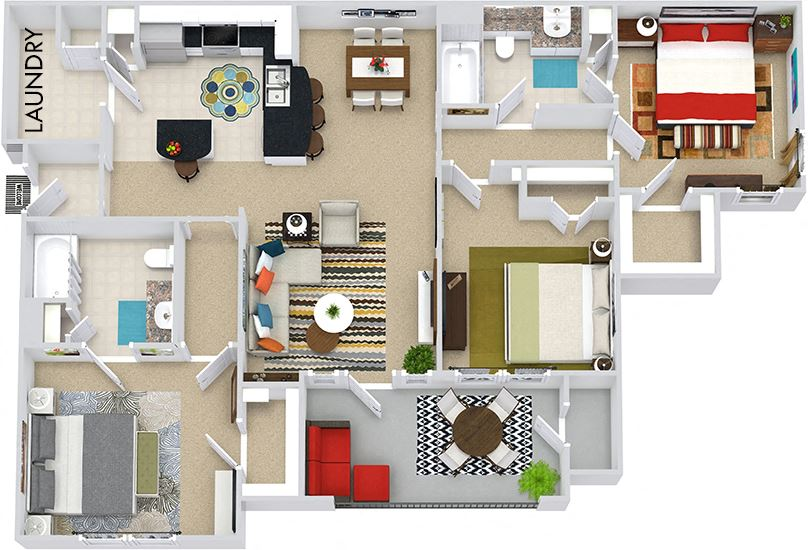 The Prague 3D. 3 bedroom apartment. Kitchen with bartop open to living/dining rooms. 2 full bathrooms. Walk-in closets. Patio/balcony.
