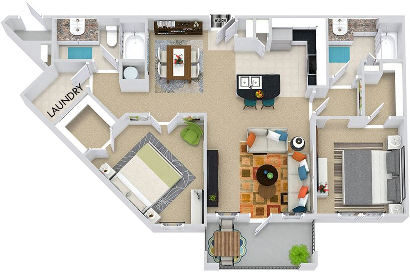 The Rome 3D. 2 bedroom apartment. Kitchen with bartop open to living/dining rooms. 2 full bathrooms. Walk-in closets. Patio/balcony.
