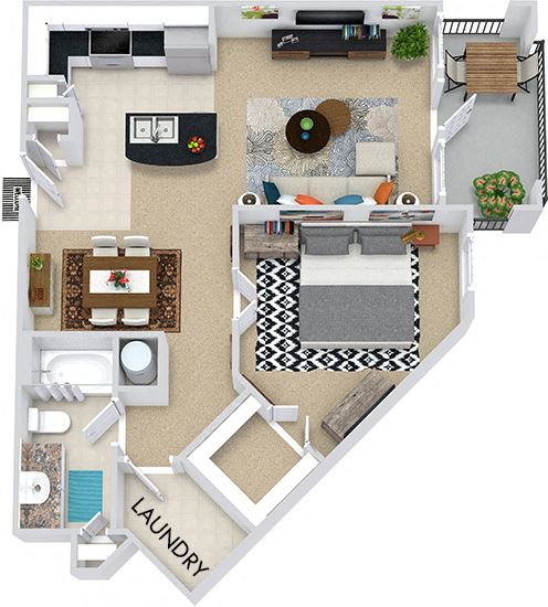 The Sydney 3D. 1 bedroom apartment. Kitchen with island open to living/dining rooms. 1 full bathroom. Walk-in closet. Patio/balcony.