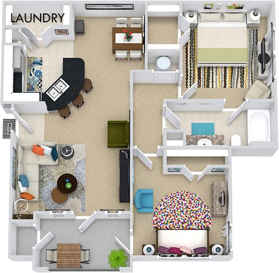 The Torino 3D. 2 bedroom apartment. Kitchen with bartop open to living/dining rooms. 1 full bathroom. Walk-in closet. Patio/balcony.