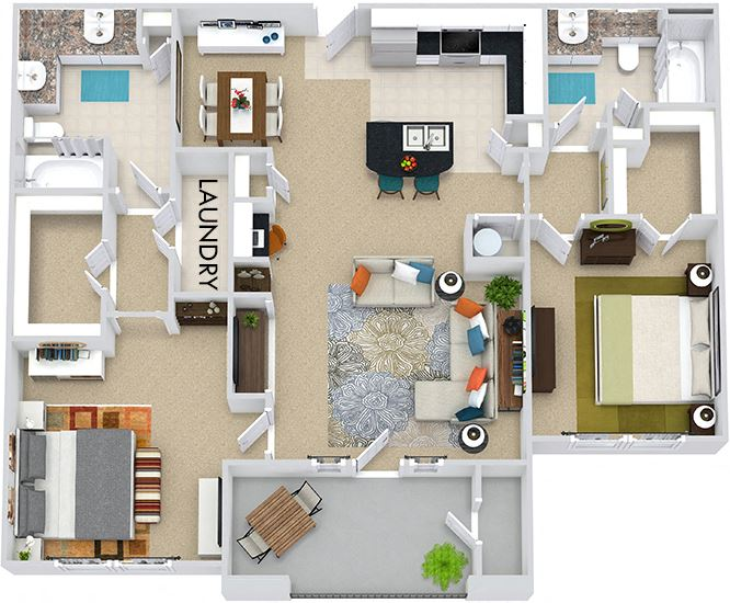 The Vancouver 3D. 2 bedroom apartment. Kitchen with bartop open to living/dining rooms. 2 full bathrooms, double vanity in master. Walk-in closets. Patio/balcony.