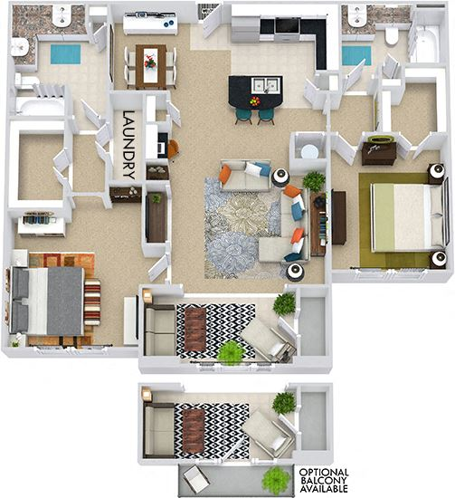 The Vancouver + Sunroom 3D. 2 bedroom apartment. Kitchen with bartop open to living/dining rooms. 2 full bathrooms, double vanity in master. Walk-in closets. Sunroom.
